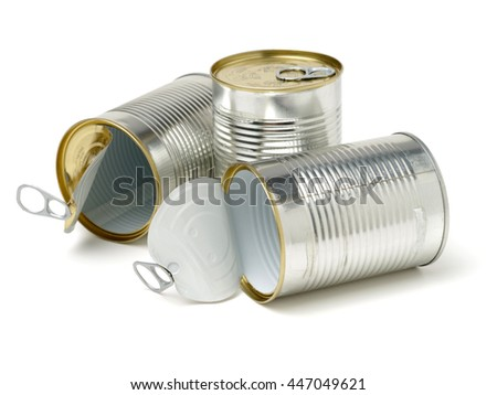 silver tin can isolated on a white background - stock photo