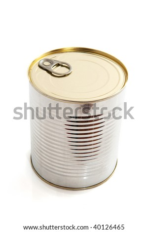 Silver tin can isolated over white background