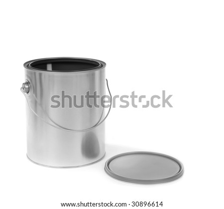 Silver tin paint can opened on a white background
