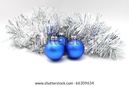 silver tinsel, Christmas balls blue two - stock photo