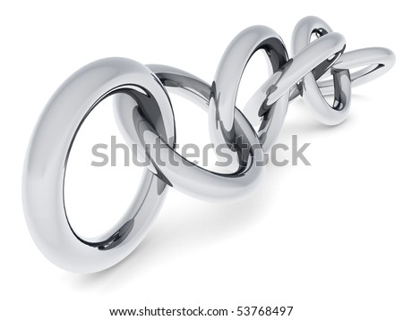 Silver torus connecting and link concept 3d illustration