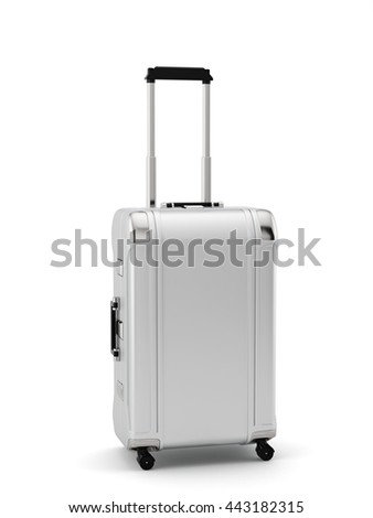 Silver travel bag suitcase with  handle isolated on white background. 3d rendering illustration - stock photo