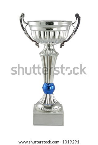 Silver trophy cup - stock photo