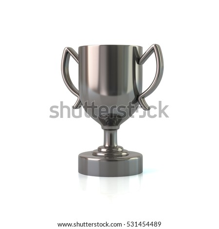 Silver trophy cup 3d rendering on white background