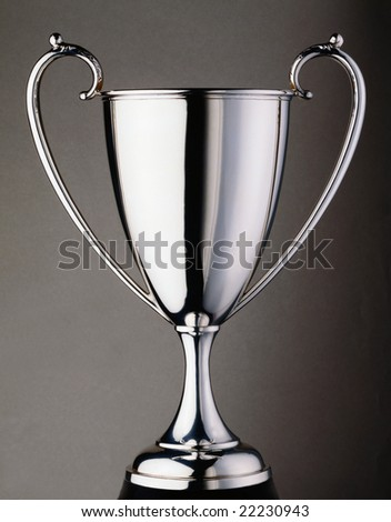 Silver trophy cup on a grey seamless background - stock photo