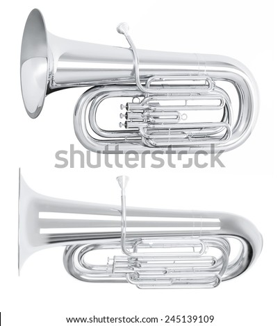 Silver tuba in hard light isolated on white background - stock photo