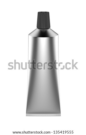 Silver tube for cream or gel or pharmaceutical product - stock photo