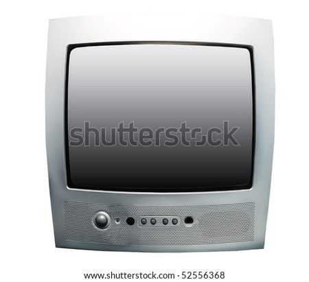 silver tv set isolated on white - stock photo