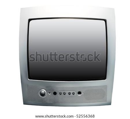 silver tv set isolated on white - stock photo