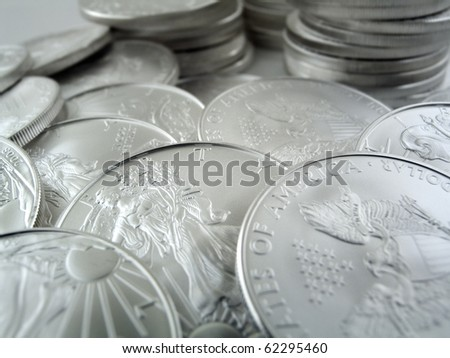 Silver U.S. Bullion Coins - stock photo