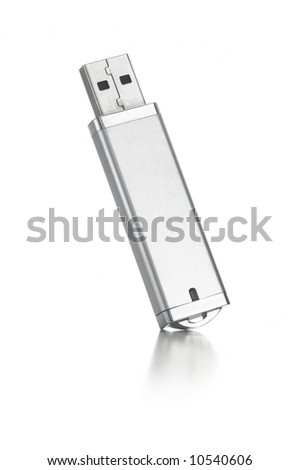 silver USB flash drive on white - stock photo