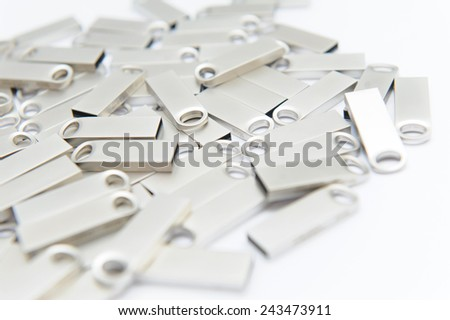 silver usb sticks on white background - stock photo