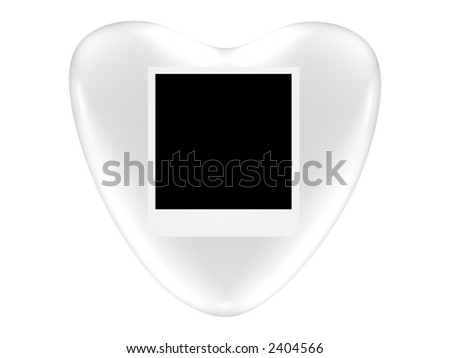 Silver Valentine heart with photo space