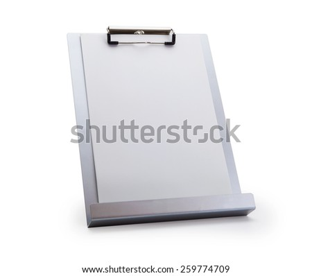 Silver vertical clipboard or paper stand, isolated on white. Focus is on the upper clipboard clip section. - stock photo