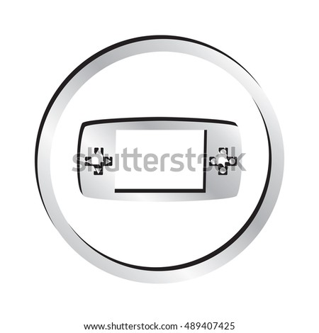 Silver Video Game Gamepad Icon.  Raster Version