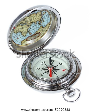 Silver vintage compass, isolated on white - stock photo