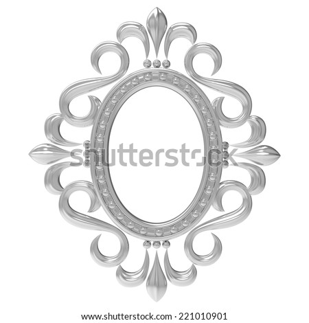 Silver vintage frame isolated on white background - stock photo