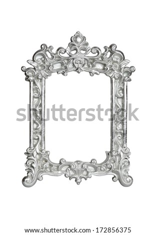 Silver vintage picture frame isolated on white with clipping path. - stock photo