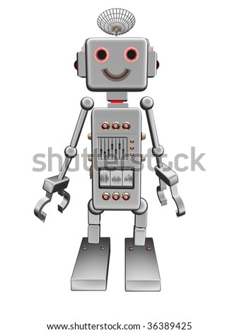 silver vintage robot frontal