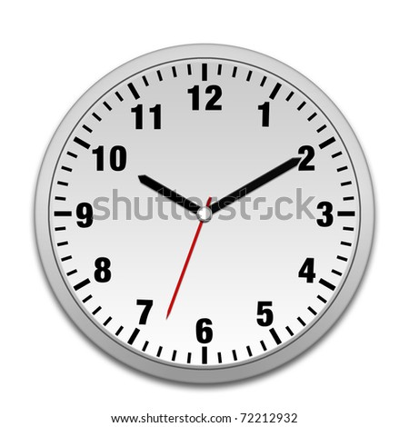 Silver wall clock isolated on white