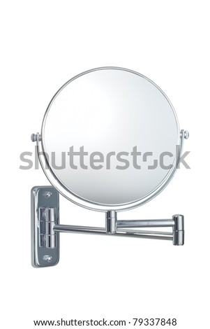 silver wall cosmetic mirror isolated on white