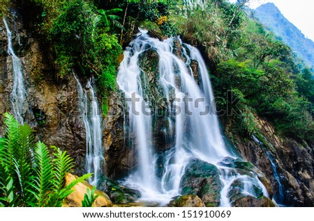 Silver waterfall in Sapa, Vietnam. Walking from Cat Cat Village about 1 hours. - stock photo