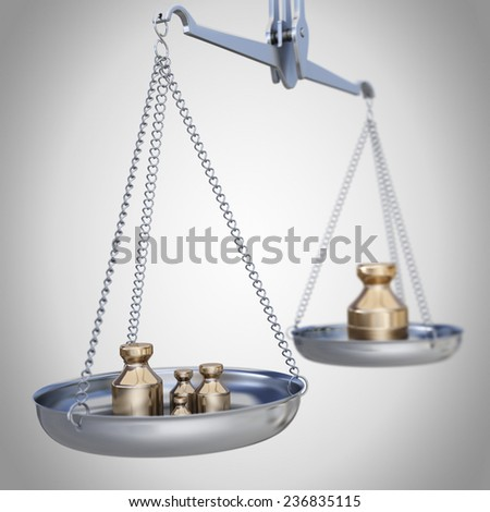 Silver weighing scale with weights. - stock photo
