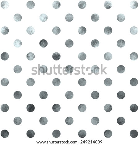 Silver White Polka Dot Pattern Swiss Dots Texture Digital Paper Background - stock photo