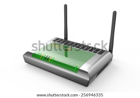 silver wi-fi router  isolated on white background - stock photo