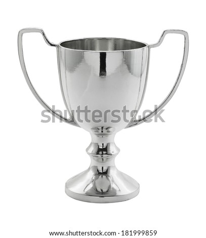 Silver Winning trophy isolated great concept for achievement, success or first place in a competition. - stock photo