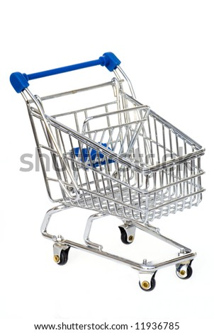 Silver with blue shopping cart isolated on white. - stock photo