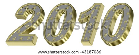 Silver with gold New Year 2010 isolated on the white background. Computer generated 3D photo rendering. - stock photo