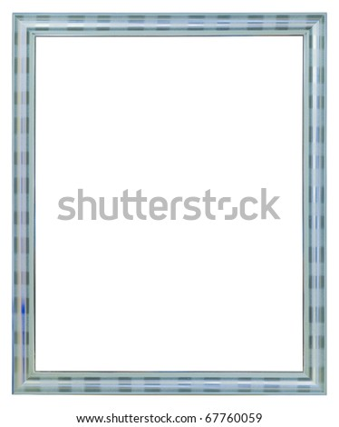 silver wood picture frame isolated on white background - stock photo