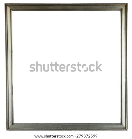 silver wooden decorative frame for painting isolated on white