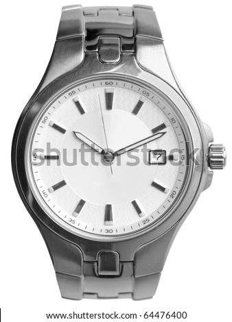 Silver wrist watch isolated on white background