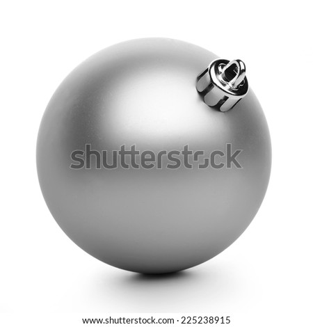 Silver xmas ball isolated on white background - stock photo