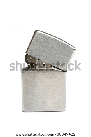 silver zippo lighter isolated on white background - stock photo