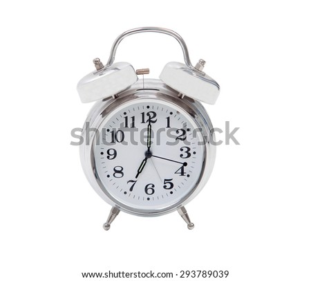 Silvered alarm clock isolated on a white background - stock photo