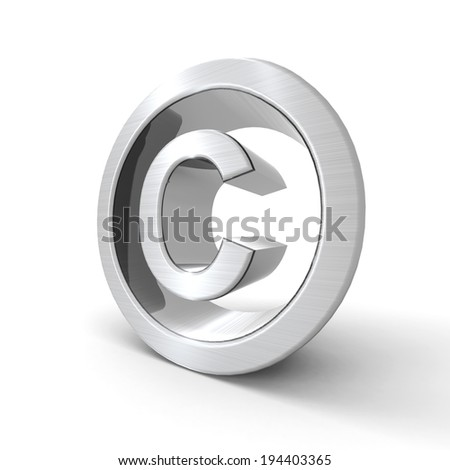Silvered copyright symbol with a white background
