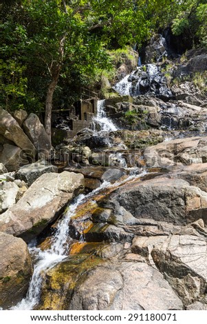 Silvermine Waterfall in Mui Wo, Lantau Island, Hong Kong - stock photo