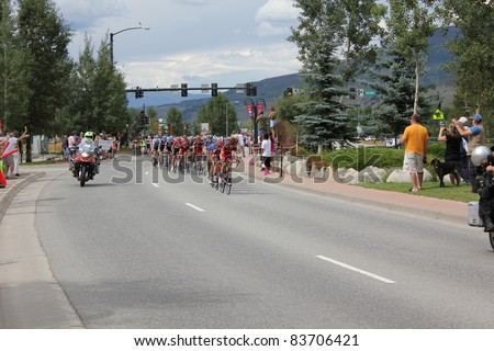 SILVERTHORNE, CO - AUGUST 27:USA PRO Cycling Challenge Stage 5 cyclists ride from Steamboat Springs to Breckenridge, Colorado, August 27, 2011 in Silverthorne, CO. - stock photo