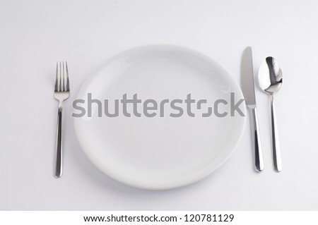 Silverware and china plate