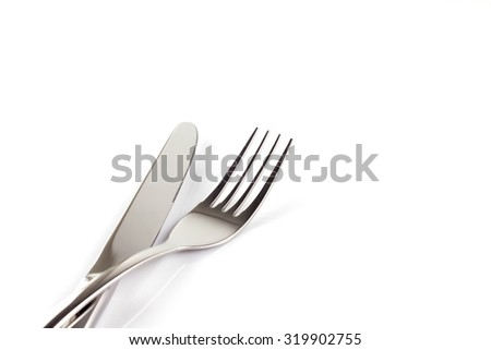 silverware isolated on a white background - stock photo
