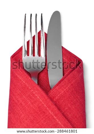 Silverware, Napkin, Fork. - stock photo