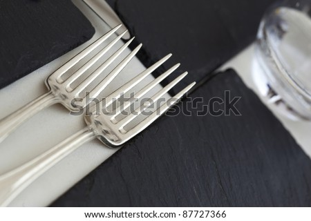 Silverware on a restaurant table