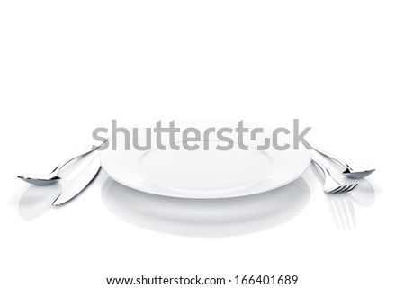 Silverware or flatware set of fork, spoon, knife and plate. Isolated on white background - stock photo