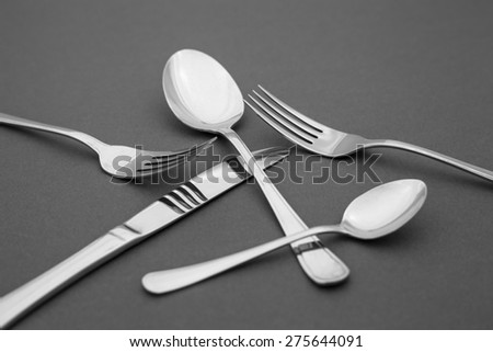 silverware, spoons, forks and knife - stock photo