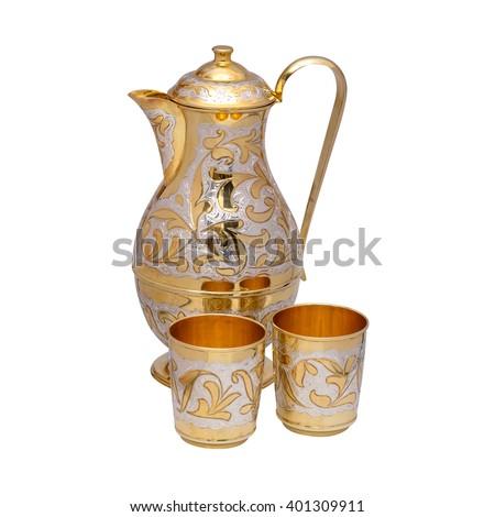 silverware, table silver, wineglass, glass, jug, jar - stock photo