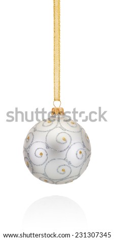 Silvery decorations Christmas ball hanging on golden braid Isolated on white background - stock photo