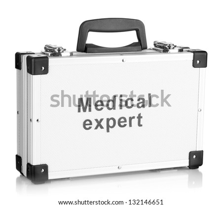 Silvery diplomat (suitcase) isolated on white - stock photo